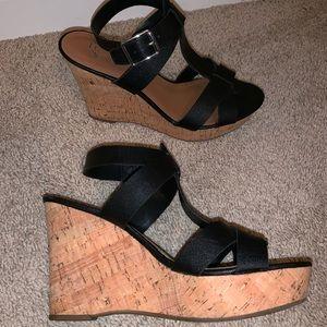 Black Strap Cork Wedge Heels